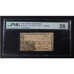 1763 12 SHILLINGS COLONIAL NEW JERSEY