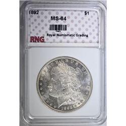 1892 MORGAN DOLLAR RNG CH BU