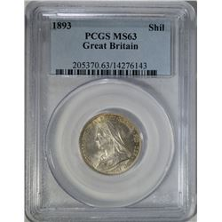 1893 GREAT BRITAIN SHILLING PCGS MS63