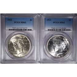 1922 & 1923 PEACE SILVER DOLLAR, PCGS-MS63