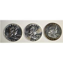 1959, 60 & 62 OFF QUALITY PROOF FRANKLIN HALVES