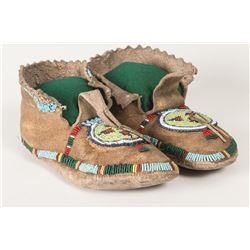 "Cheyenne Beaded Man's Moccasins, 10"" long"