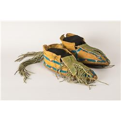 "Kiowa Beaded Man's Moccasins, 10"" long"