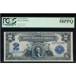 1899 $2 Mini Porthole Silver Certificate PCGS 58PPQ
