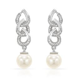 14KT White Gold 11.11ctw Pearl and Diamond Earrings