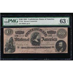 1864 $100 Confederate States Havana Counterfeit Note PMG 63EPQ