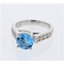 18KT White Gold 1.63ct Blue Topaz and Diamond Ring