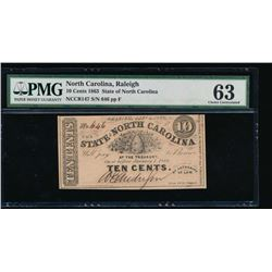 10 Cent 1863 North Carolina Obsolete Note PMG 63