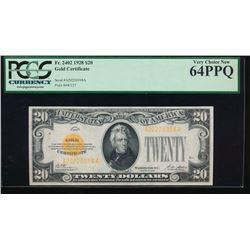 1928 $20 Gold Certificate PCGS 64PPQ