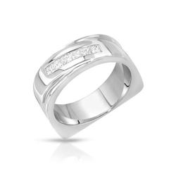 14KT White Gold 0.52ctw Mens Diamond Wedding Band