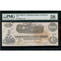 1861 $100 Confederate States of America Note PMG 58