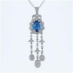 14KT White Gold 4.90ct Blue Topaz and Diamond Pendant with Chain