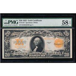 1922 $20 Gold Certificate PMG 58EPQ