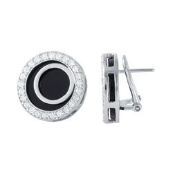 18KT White Gold 9.42ctw Onyx and Diamond Earrings