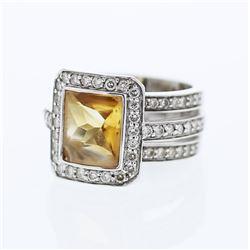 14KT White Gold 3.03ct Citrine and Diamond Ring