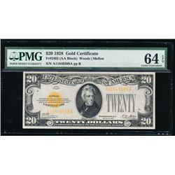 1928 $20 Gold Certificate PMG 64EPQ