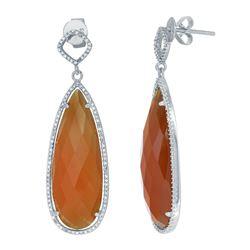 14KT White Gold 24.49ctw Honey Agate and Diamond Earrings