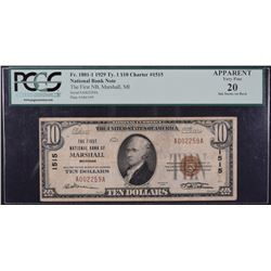 1929 $10 National Bank of Marshall Note PCGS VF20