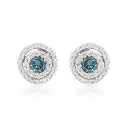 18KT White Gold 0.48ctw Blue Diamond Earrings
