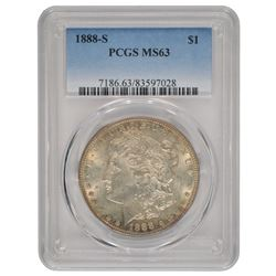 1888-S $1 Morgan Silver Dollar Coin PCGS MS63