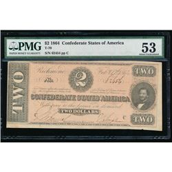 1864 $2 Confederate States of America Note PMG 53