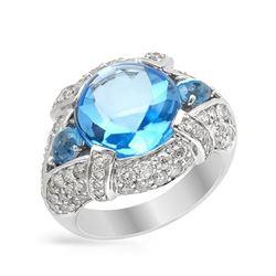 14KT White Gold 8.34ct Blue Topaz and Diamond Ring