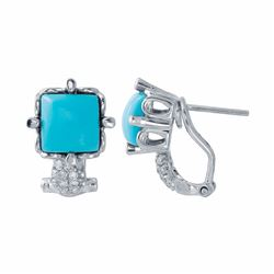 14KT White Gold 2.70ctw Turquoise and Diamond Earrings