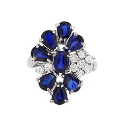 14KT White Gold 4.25ctw Blue Sapphire and Diamond Ring