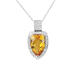 14KT White Gold 5.46ct Citrine and Diamond Pendant with Chain