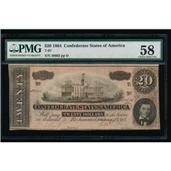 1864 $20 Confederate Sates of America Note PMG 58