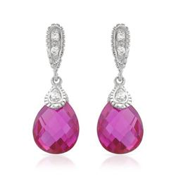 14KT White Gold 7.40ctw Pink Sapphire and Diamond Earrings