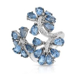 18KT White Gold 9.93ctw Blue Topaz and Diamond Ring