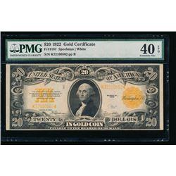 1922 $20 Gold Certificate PMG 40EPQ