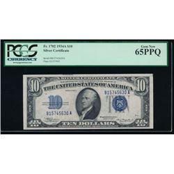 1934A $10 Silver Certificate PCGS 65PPQ