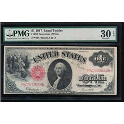 1917 $1 Legal Tender Note PMG 30EPQ