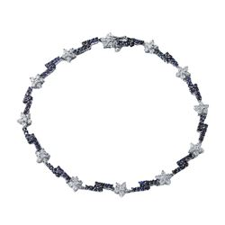 14KT White Gold 1.45ctw Blue Sapphire and Diamond Bracelet