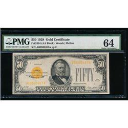 1928 $50 Gold Certificate PMG 64EPQ