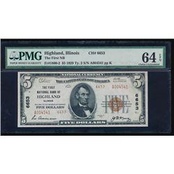 1929 $5 Highland National Bank Note PMG 64EPQ