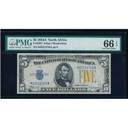 1934A $5 North Africa Silver Certificate PMG 66EPQ