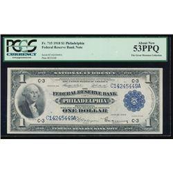 1918 $1 Philadelphia Federal Reserve Bank Note PCGS 53PPQ