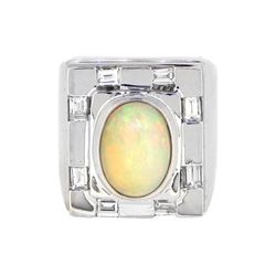 14KT White Gold 2.82ct Opal and Diamond Ring