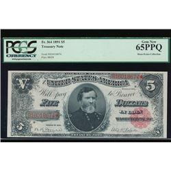 1891 $5 Treasury Note PCGS 65PPQ