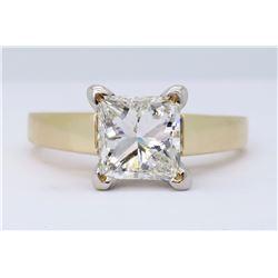14KT Yellow Gold 1.02ct Princess Cut Diamond Ring