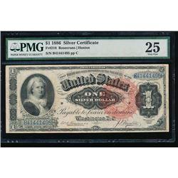 1866 $1 Martha Washington Silver Certificate PMG 25