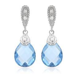 14KT White Gold 6.25ctw Blue Topaz and Diamond Earrings