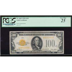 1928 $100 Gold Certificate PCGS 25