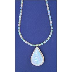 14KT White Gold 45.82ctw Opal and Diamond Necklace