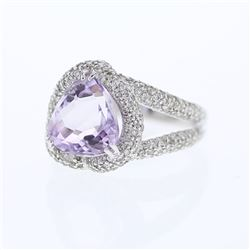 14KT White Gold 4.53ct Amethyst and Diamond Ring
