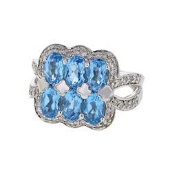 14KT White Gold 3.24ctw Blue Topaz and Diamond Ring