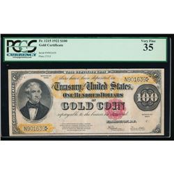 1922 $100 Gold Certificate PCGS 35 Very Fine